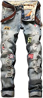 Relaxed Distressed Jeans,2018 Destroyed Ripped Denim Jeans, Retro Old Effect Casual Jeans Pants,Fold Jeans with Patch for Men