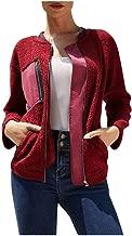YOCheerful Faxu Fleece Jacket Women Color Block Warm Long Sleeve Winter Sweatshirt Zipper Pullover Tops
