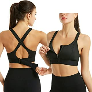 Draadloze, ondersteunende sport-bh's voor dames, Comfortabele gewatteerde trainings-bh met ritssluiting voor gym-yoga hard...