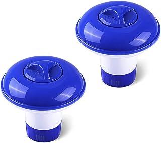 GLOBALDREAM Dispensador Químico, 5 Inch Dispensador de Químicos Dosificador de Cloro Flotante Dispensador Cloro Flotante Flotador de Cloro para Piscinas y SPA (2 Piezas)