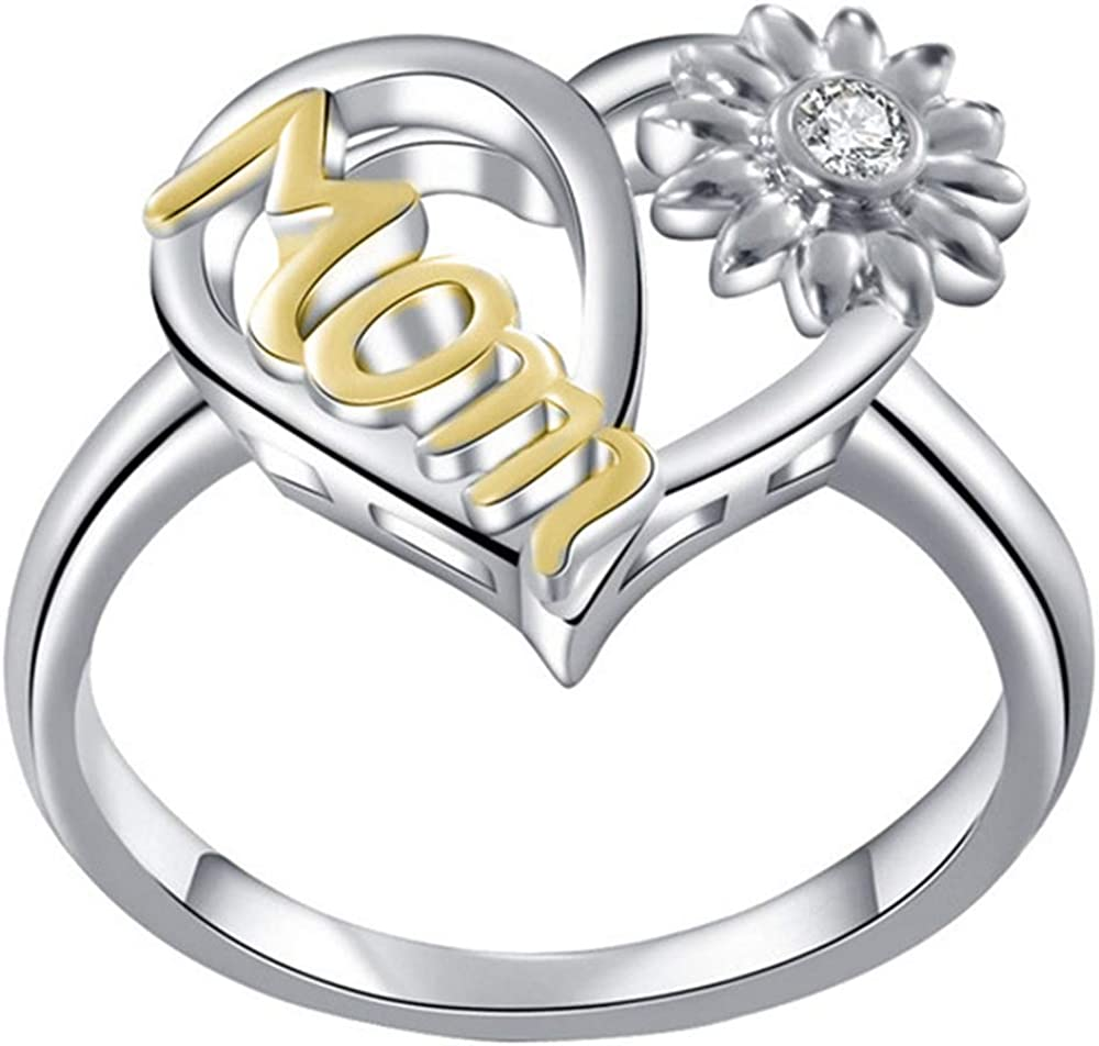 Platinum Plated Direct store Sunflower Style Mother's Day Mom Super beauty product restock quality top! Birthday Ring