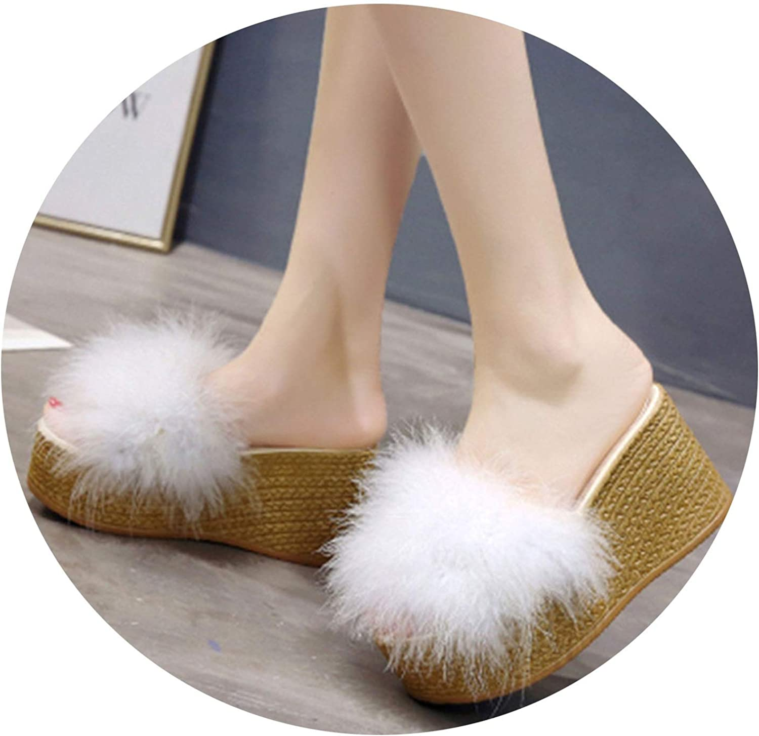 Sunshine-Family Summer Women's Wedge Sandals Feather 9Cm High Heel Platform Open Toes Female Sexy Slipper
