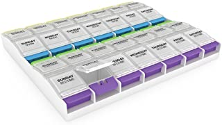 Ezy Dose Push Button (7-Day) Pill, Medicine, Vitamin Organizer Box | Weekly, 4 Times a Day, AM PM | 2XL Compartments | Art...