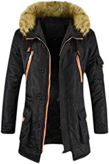 GAGA Mens Winter Warm Thick Jacket Faux Fur Hooded Outdoor Down Coat Black M