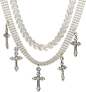 MIXIA Water-Wave Metallic Beads Silver Cross Chokers Necklace for Women Multiple Layered Charm Arrow Pendant Gift