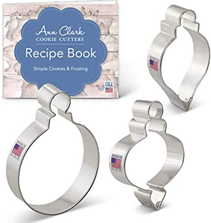 Ann Clark Cookie Cutters 3-Piece Christmas Ornament Cookie Cutter Set with Recipe Booklet