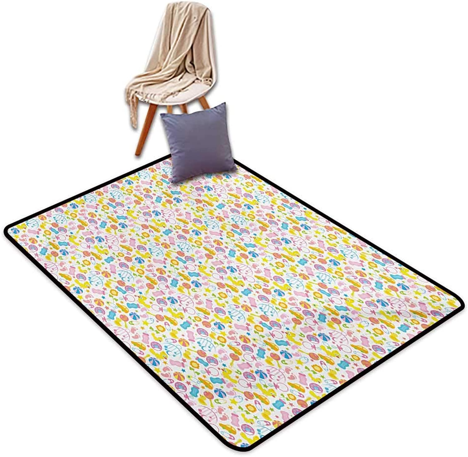 Baby Large Outdoor Indoor Rubber Doormat Assortment of Infant Items Toys Footprints Milk Bottles Flower Arrangement Design Water Absorption, Anti-Skid and Oil Proof 48  Wx59 L Multicolor