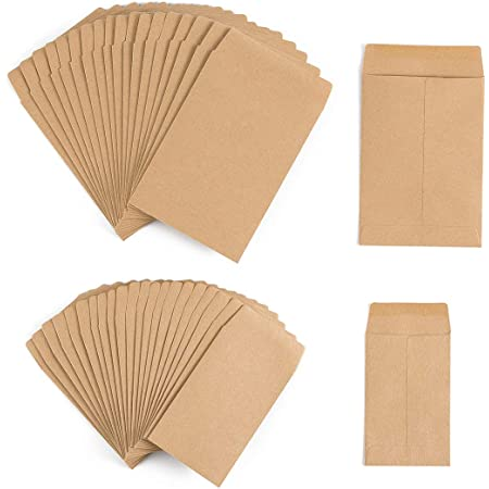 """200 Pack Self-Adhesive Small Parts Packets Envelopes Kraft Self Sealing Seed Envelopes Coin Stamps Storage for Home, Garden, Wedding or Office, 2 Size(2.25""""×3.5""""/3.23""""×4.53"""")"""