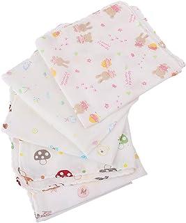 LuDa 5Pcs Baby Boy Girl Saliva Bib Soft Cotton Breastfeeding 2x Diapers