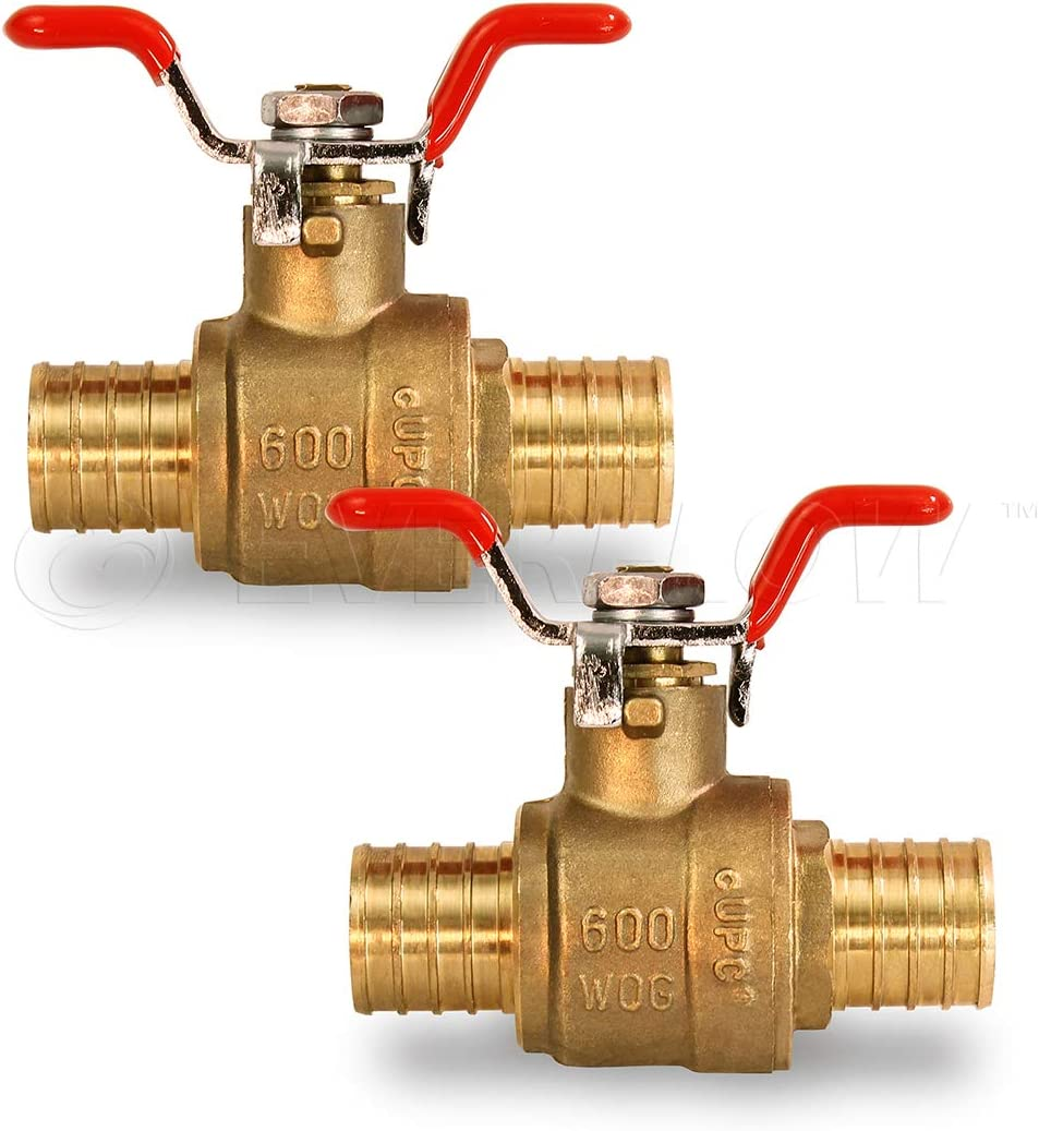 Brass 1 Inch Pack of 2} Pexflow 615P001-2 Full Port x PEX Barb Ball Valve Water Shut Off With Tee Handle