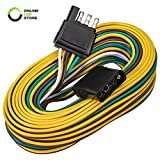 4 Pin Flat Trailer Wiring Harness Kit [Wishbone-Style] [SAE J1128 Rated] [25' Male & 4' Female] [18 AWG Color Coded...