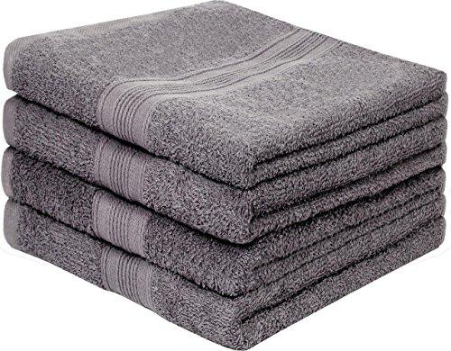 leevitex 4er Pack Frottier Handtücher/Handtuch Set 50 x 100 cm - Qualität 500 g/m² - 100% Baumwolle in viele modernen Farben (Anthrazit/Grau)