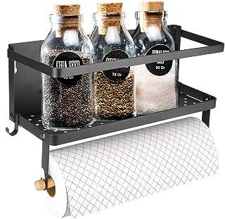 Refrigerator Magnetic Spice Rack, Paper Towel Holder, Spice Shelf Storage Organizer for Kitchen, Rustproof Single Tier Kitchen Refrigerator Storage Organizer Shelf (Black)