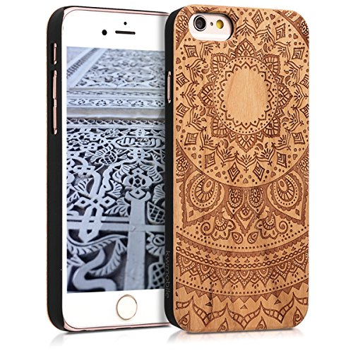 kwmobile Funda Compatible con Apple iPhone 6 / 6S - Carcasa de Madera - Case Trasero Duro Sol hindú