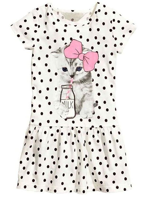 EGELEXY Kid Girl's Cotton Cat Print Short Sleeve Tutu Dress