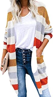 Women Regular-Fit Open Front Solid Chunky Rainbow Knit Warm Long Cardigan Sweaters