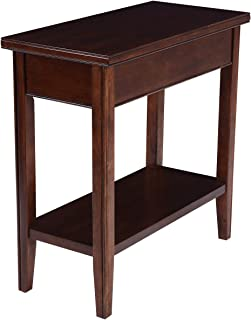 Phoenix Home Tilburg Chair-Side Solid-Wood End Table with Bottom Shelf, Caramel Latte