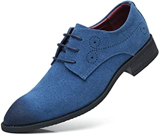 QinMei Zhou Oxfords for Men Retro Dress Shoes Lace up Suede Pointed Toe Rubber Sole Vegan Wear Resistant Carving Burnished Style Non-Slip (Color : Blue, Size : 10.5 UK)