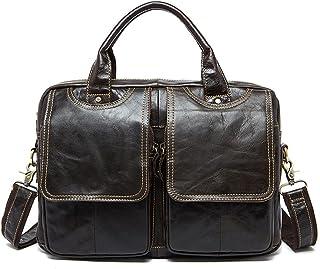 "Men's Accessories Men's Top Cow Genuine Leather Business Handbag Briefcase Shoulder Messenger for 13""Laptop Outdoor Recreation (Color : Black)"