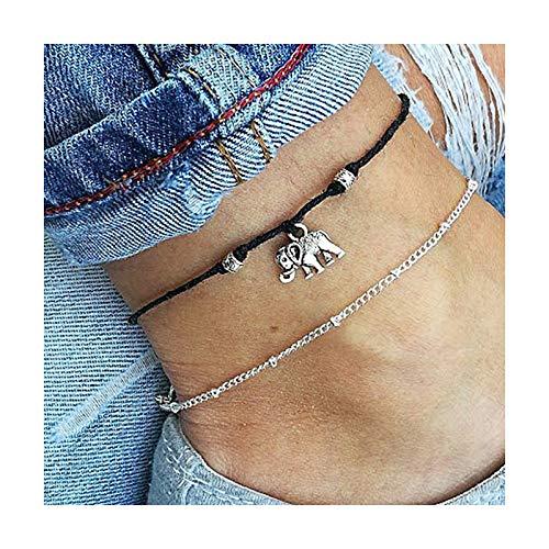 lefeindgdi Tobillera de aleación de elefante, pulsera de tobillo de elefante, colgante de elefante negro, cadena de joyería de pie de playa, regalo para hombres y mujeres