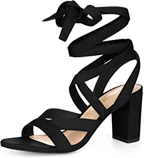 Women's Crisscross Chunky Heel Lace Ups Sandals