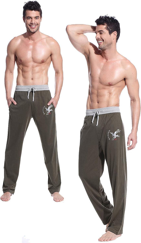Mucwer Men's Cotton Casual Lightweight Drawstring Pj Bottoms Knit Soft Pajamas Pant(2Packs)