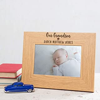 "Our Grandson Photo Frame - Personalised Grandson 1st Birthday Gifts - 6x4 7x5 8x6"" Available - Unique Engraved Wooden Picture Oak Veneer"