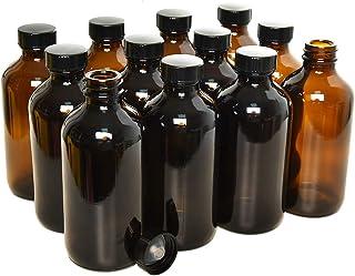 Rocinha 8 oz. Amber Boston Bottles 12pcs Glass Boston Bottle with Caps for Homemade Vanilla Extract, Essential Oils, Herba...