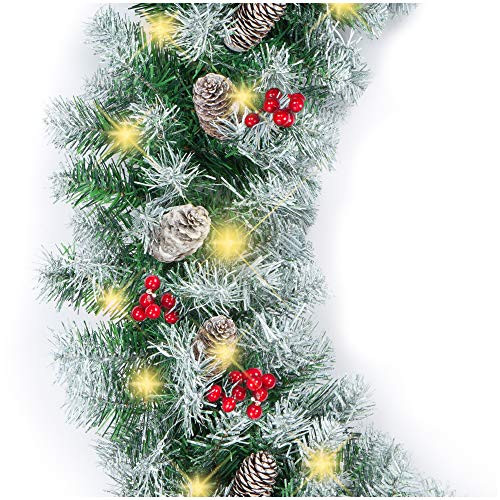 Best Choice Products 9ft Pre-Lit Holiday Pre-Decorated Christmas Garland for Stairs, Fireplace, Decoration w/ 200 PVC Tips, 50 Incandescent Lights, Partially Flocked, Pine Cones, Berries - Green/White