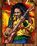 'Bob Marley-Rocking'- Abstract Concert Wall Art -8 x 10's Wall Prints-Ready To Frame-Classic Marley Poster Print. Modern Home-Studio-Bar-Office Décor. Perfect Gift for All Reggae & Marley Fans.