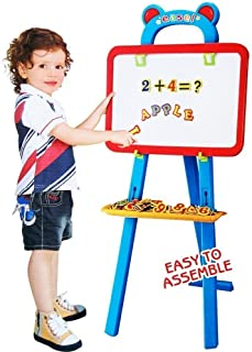 House Of Gifts Double Sided Magnetic Educational White Chalk Board Learning Blue Easel for Kids