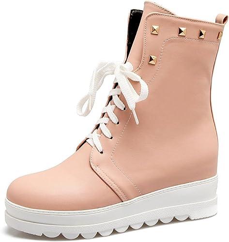 DYF Chaussures Nu Bottes Courtes Central Metal Bracelet Rivet Couleur Rose,Solide,38