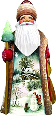 G. Debrekht Carved Wood and Hand-Painted First Day of Winter Santa, 8""