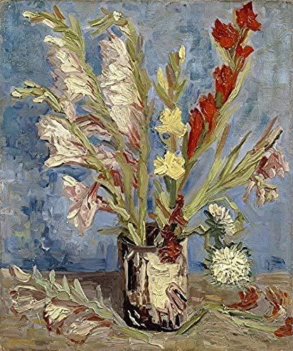 Kunstwerk Gemälde 40x60cm ohne Rahmen Vase mit Gladiolen und China Astern von Van Gogh Berühmte Ölgemälde Abstrakte Blumen für Wohnkultur