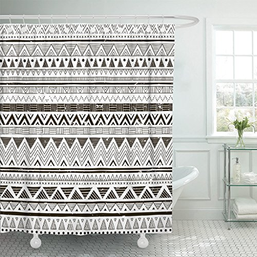 TOMPOP Shower Curtain Black and White Tribal Doodle Aztec Fancy Abstract Geometric Waterproof Polyester Fabric 72 x 72 Inches Set with Hooks