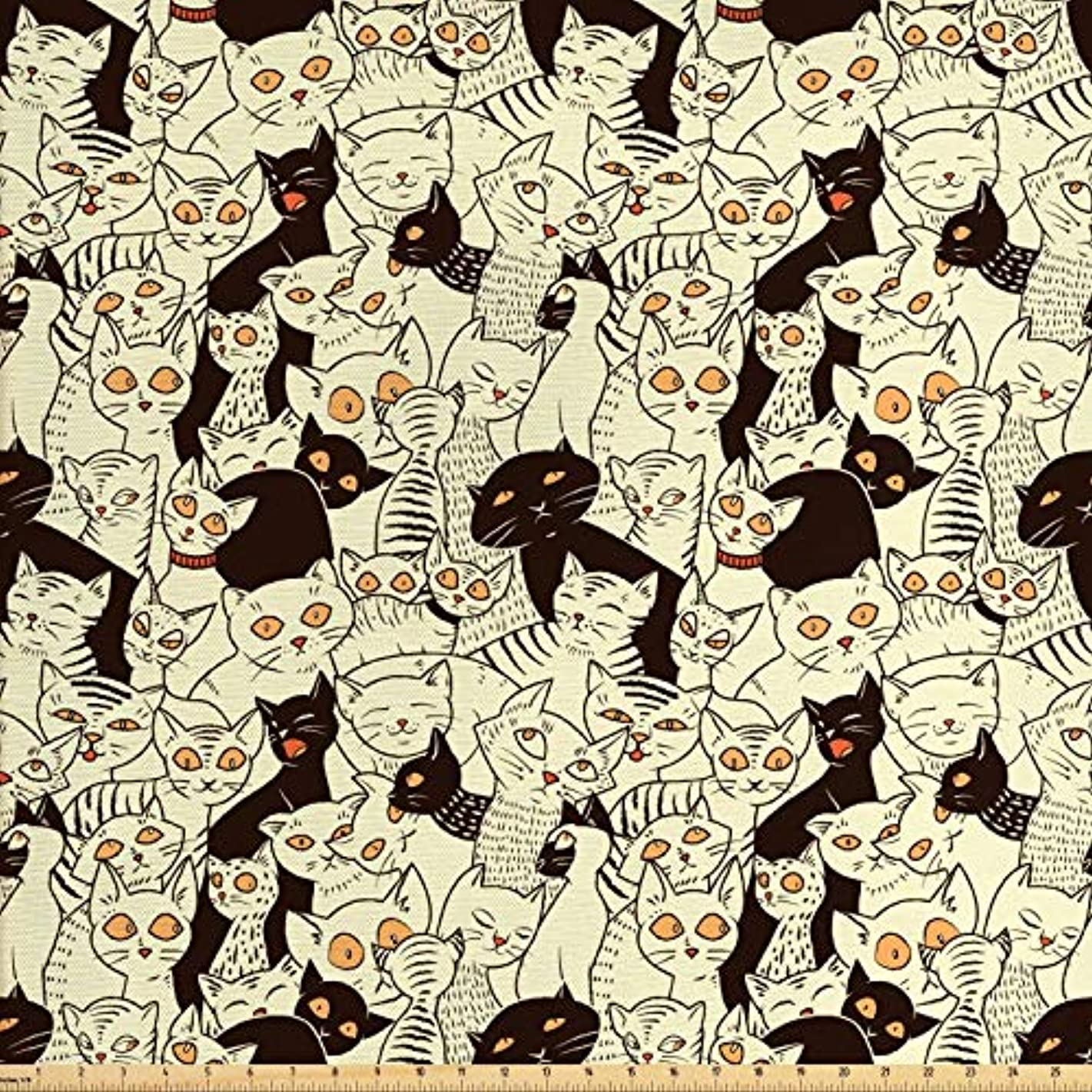 Lunarable Cat Fabric by The Yard, Modern Big Eyed Funk Style Kitties with Retro Influences Sweet Animal Graphic, Decorative Fabric for Upholstery and Home Accents, 1 Yard, Black Pale Yellow