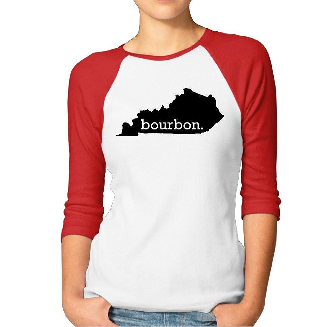 脅かす日帰り旅行にホバー印刷の女性のSportshirt Homeland Tees Kentucky Bourbon Top 3?/ 4スリーブラグランシャツ
