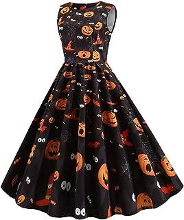 Women Halloween Dress Round Neck Sleeveless Pumpkin Print Vintage A-Line Dress