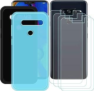 YZKJ [2 stycken skal för LG V40 ThinQ Cover svart + blå mjuk silikon skyddande skydd TPU skal skal skal 4 x pansarglas skä...