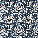 Papier peint baroque Tapisserie baroque Papier peint intissé Beige/crème Bleu Métallique 367167 | Papier peint pas cher