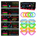 HXS 30 Pack Valentine's Cards Kids 5 Patterns Valentine's Day Greeting Card with Heart-Shaped Glasses Light Up Glow Sticks Bracelets for Children Valentine's Day Classroom Party Favors Toy