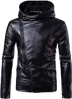 GAGA Women Men's Casual Diagonal Zip Up Slim Faux Leather Jacket Coats