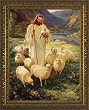 Catholic to the Max   Good Shepherd by Warner Sallman Gold Framed Art Reproduction Print Under Glass   Made in The USA (11x14)