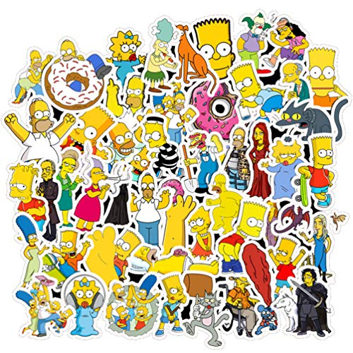 Cartoon Stickers for Water Bottles Laptop Skateboard, Adults Kids Teen Girls Boys Cool Waterproof Vinyl Decal for Phone Computer Car Luggage Bicycle Guitar Notebook Travel Case (The Simpsons)