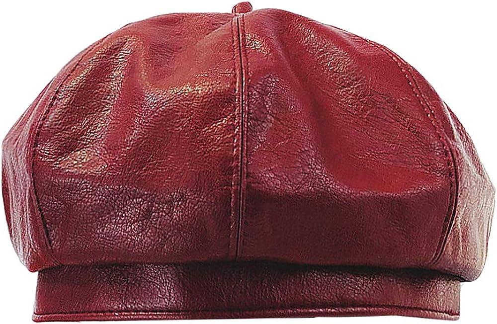 Sun Kea Ladies Beret Hat Soft PU Leather Beanie Cap Solid Color Artist Show Hat Autumn Winter Windproof Hat Head Decor