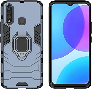 YEESOON Vivo Y19 / Vivo U3 Case, Dual Layer Hybrid Shockproof Protective Case with Ring Stand & Magnetic Car Mount Function Back Cover for Vivo Y19 / Vivo U3 - Navy Blue