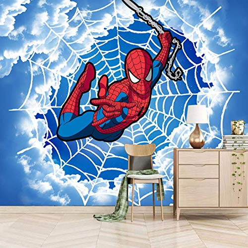 mural for kids bedroom 430x300cm Cartoon spider web white cloud character Photo Wallpaper Kids Boys Wall Mural Fleece Self-adhesive mural Arts Wall Nursery Modern Murals decorate Living Room Bedroom O