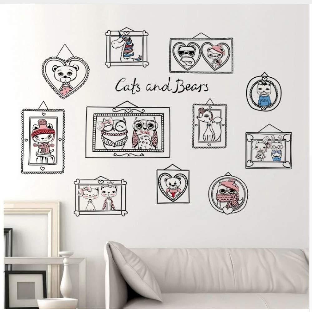 Gatos de Dibujos Animados Osos Amor Pareja Marco Pegatinas de ...