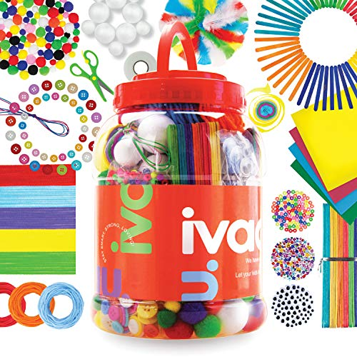 IVAAU Art and Craft Supplies Kit for Kids - Safety Approved Set for Toddlers, 4-12 Year Old Girls and Boys - Arts and Crafts Materials Bucket for Crafting Home and Preschool/School Collage Projects