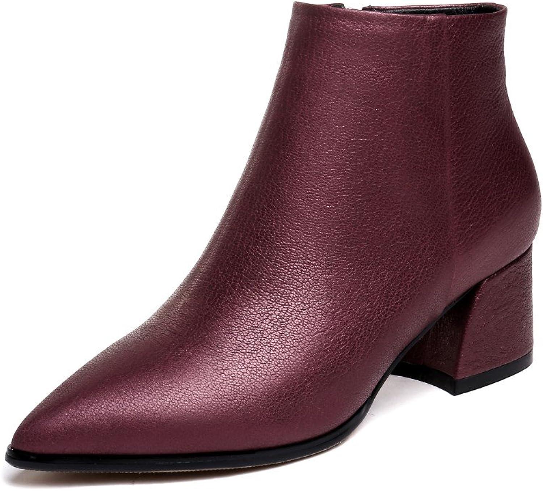 Nine Seven Genuine läder Woherrar Point Toe Chunky Mid Mid Mid Heel Side Zipper Handgjort Gracful gående Dress Ankle Booslipss  rättvisa priser
